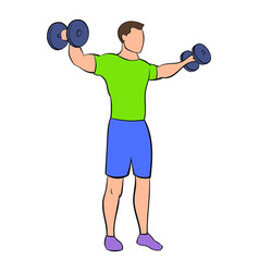 dumbbell lateral raises icon cartoon vector image