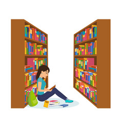 girl in library reading book and working vector image