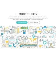 modern line flat design Modern smart city vector image