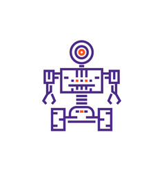 robotics robot in linear style vector image vector image