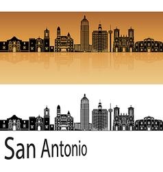 San Antonio skyline in orange vector image