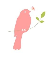 Bird with flower in beak vector image vector image