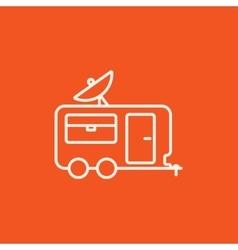 Caravan with satellite dish line icon vector image vector image