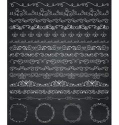 Chalk Drawing Borders and Frames Dividers Swirls vector image vector image