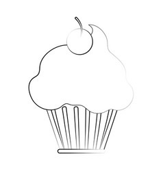 cup cake glazed cherry vector image
