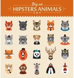 Cute fashion Hipster Animals of icons vector image