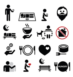 Homeless poverty man begging for money icons set vector image vector image