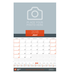 July 2018 wall monthly calendar planner for 2018 vector