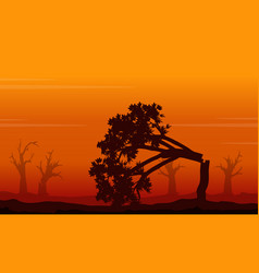 silhouette of forest on fire landscape vector image vector image