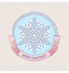 New Year and Christmas badge with snowflake vector image