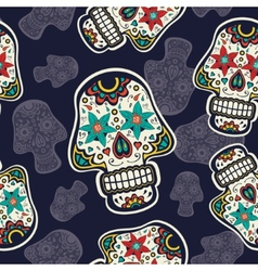 Pattern with sugar skulls vector image