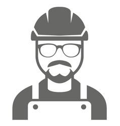 Builder in hard hat and glasses - foreman icon vector image vector image