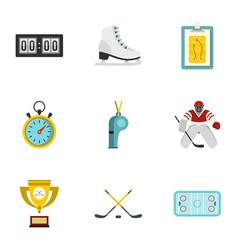 hockey elements and figure skating icons set vector image