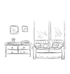 Room interior sketch Place for relax vector image