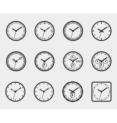 Time and clock icon set vector image vector image