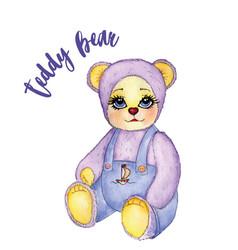 toy baby bear cute pants watercolor vector image