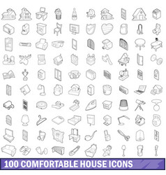 100 comfortable house icons set outline style vector image