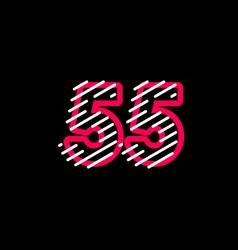 55 years anniversary line design logo template vector