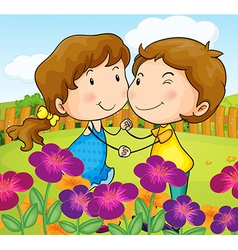 A garden with a sweet couple vector image