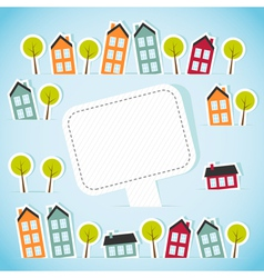Abstract paper town with banner vector image