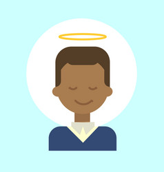 African american male with angel nimbus emotion vector