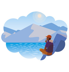 Afro man contemplating horizon in lake and vector