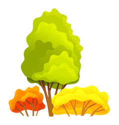 Autumn tree different sizes and forms trees with vector