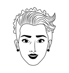 Beautiful bride face pop art in black and white vector