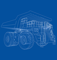Big truck outlined rendering of 3d vector
