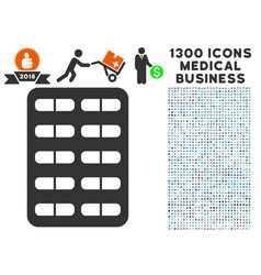 blister icon with 1300 medical business icons vector image