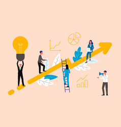 Business coaching concept with people on rising vector