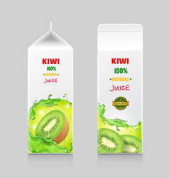 Cardboard pack with kiwi juice vector
