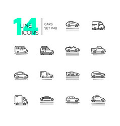 cars - set of line design style icons vector image