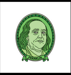 cartoon benjamin franklin dollars vector image