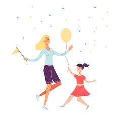 cheerful happy mother and daughter dancing cartoon vector image