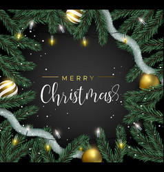 christmas gold pine tree decoration greeting card vector image
