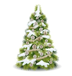 Christmas tree with snow on the branches vector image