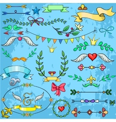 Collection of cartoon design elements for weddings vector image
