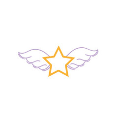 color line star with wings rock symbol art vector image