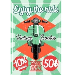Color vintage scooter poster vector