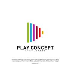 colorful play logo design concept play logo vector image