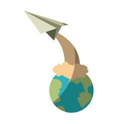 Colorful silhouette of earth globe and paper plane vector