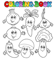 coloring book with vegetables vector image