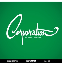 CORPORATION Lettering vector