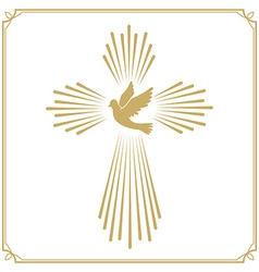 Cross with dove church emblem template design vector