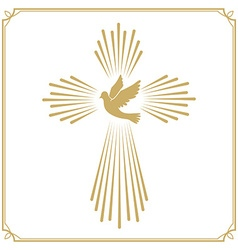 Cross with the dove Church emblem template design vector