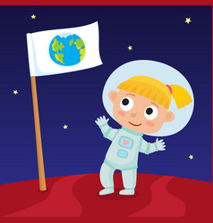 cute little happy blonde girl astronaut standing vector image