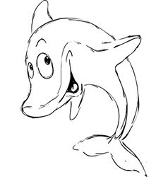 Dolphin sketch - black outline vector