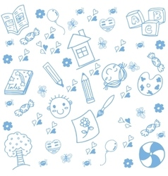 Draw kids of doodle art vector