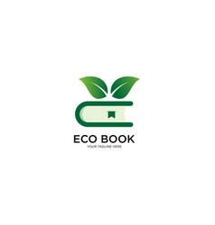 Eco book logo design vector